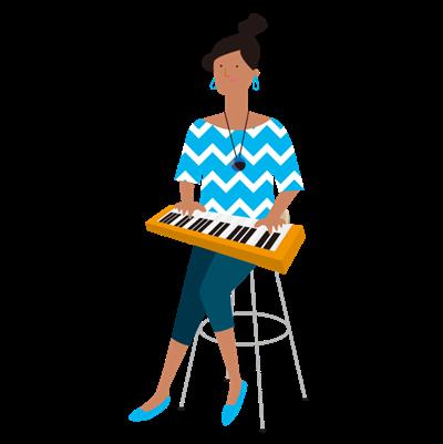 鍵盤を弾く女性